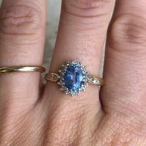 Jewelry - Oval Ceylon Sapphire Diamond Halo Vintage Ring